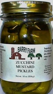 glass of Barry Zucchini Mustard Pickles
