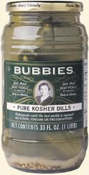 glass of Bubbies California Kosher Dill Pickles