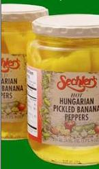 glass of Sechlers Hungarian Pickled Banana Peppers